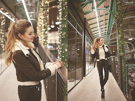 Juliette Jakubowska - Jacket - WHITE TURTLENECK AND BROWN FAUX JACKET