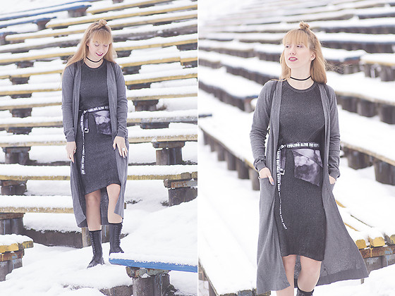 Julia F. - Bonprix Cardigan, Bershka Dress, Ludmila Kislenko Bag, Dr. Martens Boots - Grey layers