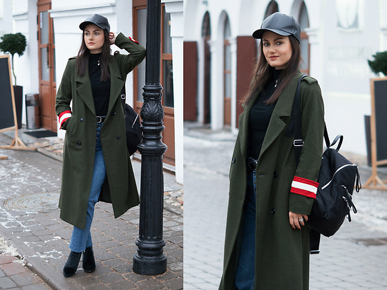 Ann Kos - Coat, Hat, Backpack, Chokers, Ring, Shoes - MILITARY STYLE & BASEBALL HAT