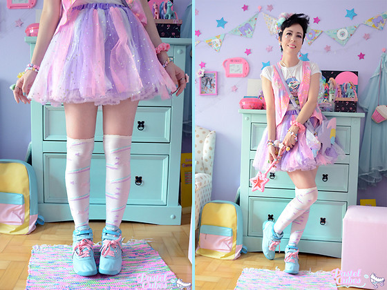 Luly Pastel Cubes - Reebok Sneaker, Angelic Pretty Otk, Pastel Doll Sparkles - I can use my own hair