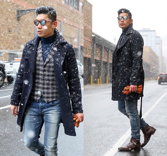Leo Chan - Fratelli Rossetti Boots, Topman Turtleneck - NYFW Men's Snow Day