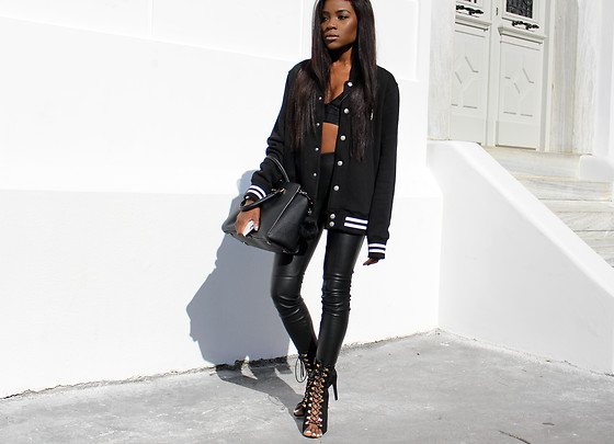 Rachel O. - Illusion Streetwear Varsity Jacket, Zara Faux Leather Leggings, Quanticlo Open Toe Lace Up Booties, Michael Kors Selma - The Varsity Jacket