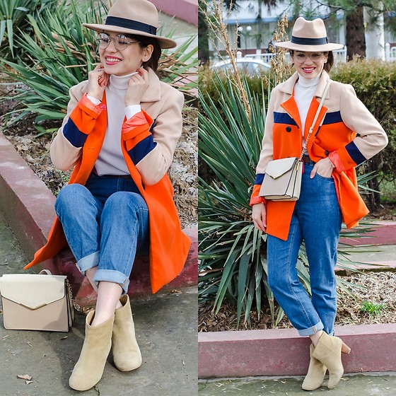 Diyora Beta - Fashionmia Coat From, Asos Mom Jeans, Hat - COLOR BLOCKING OUTFIT