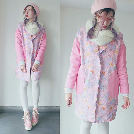 Candy Thorne - Handmade By Me Octopus Coat, Thrifted Pink Platforms - Octopus Chester Coat
