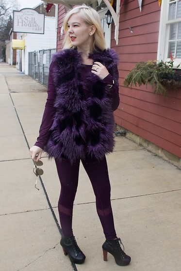 Bree Fesh - Calia Plum Workout Top, Calia Plum Moto Tights, Terry Jolo Brand Purple Furry Vest - Attractively Active