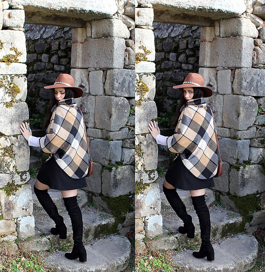 Pretty-Roxanne Stratmains ☥ - Fashionmia Black And Brown Poncho, Public Desire Black Thigh High Boots - Nobody told me