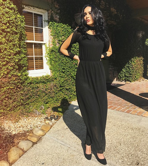 Norma Conedera - Fashionmia Black Maxi Dress W Open Sleeves - Lo opuesto al color negro