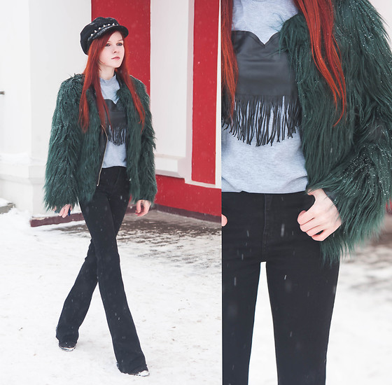 Anya Dryagina - Yoins Fake Fur Coat, Yoins Grey T Shirt, Zaful Black Cap With Studs - Winter will be long