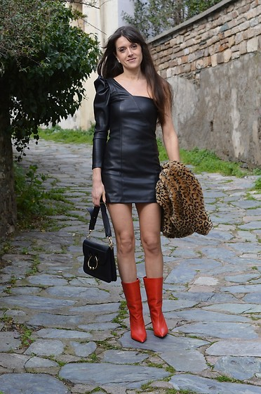 Jeanne -  - Valentine's Day One Shoulder Leather Dress