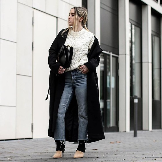 Fashiontwinstinct - Edited Knit Sweater, Zara Mules, Topshop Mom Jeans - Maxi Coat.