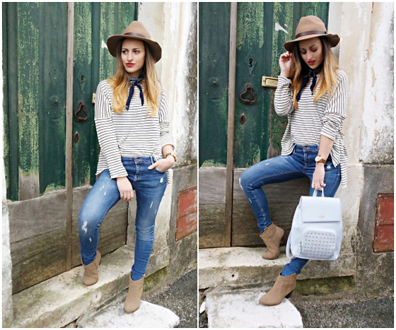 Linda Francis - H&M Hat, Primark Bandana, Zara Shirt, Fossil Watch, Zara Jeans, Guess Backpack, Zara Ankle Boots - Blue Backpack