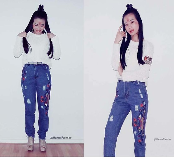 Hanna From HOLLAND - Shein Jeans - Blue embroidery jeans <3