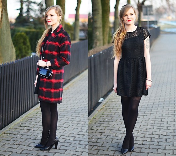 Karolina N. - Vipme Tartan Coat, Kupbuty Heels, Allegro Bag, Cropp Dress - Little black dress