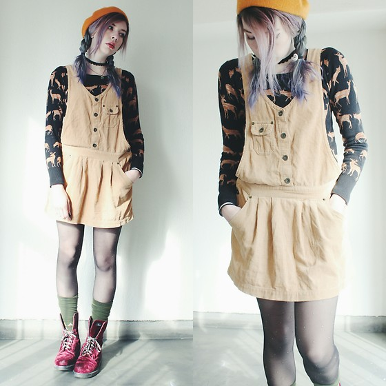 Candy Thorne - Dr. Martens Velvet Boots, Thrifted Corduroy Pinafore - Creature feature