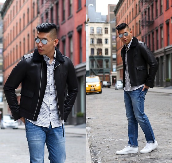 Leo Chan - All Saints Leather Coat, Ray Bam Ray Ban Aviator, Common Projects Sneakers, Slate Denim Jeans, Slate Denim Shirt - Winter to Spring Style