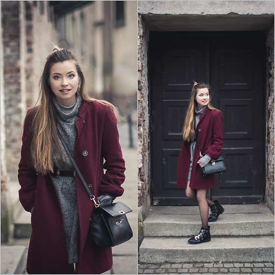 Juliette Jakubowska - Coat - BURGUNDY COAT, FISHNET TIGHTS AND GRUNGE BOOTS