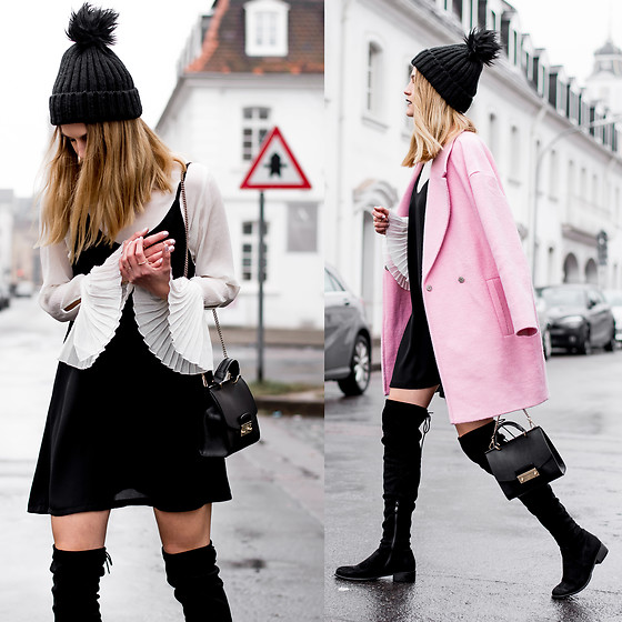 Catherine V. - Pimkie Beanie, Pimkie Pink Coat, H&M Bell Sleeves Blouse, Public Desire Flat Thigh High Boots - Romantic layering