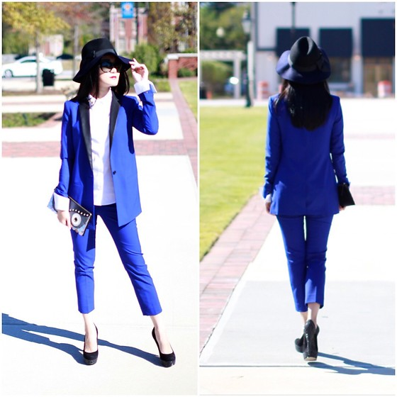 Ming Francis - Kate Spade Fedora, Banana Republic Royal Blue Suits, Kate Spade Owl Clutch - Royal blue