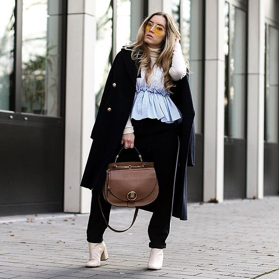 Fashiontwinstinct - Zara Coat, Asos Pants, Chloé Bag - Peplum over Turtleneck x Chloé Goldie.