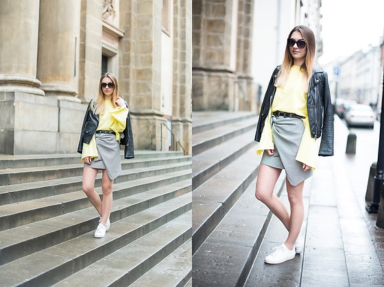Ania Pałka - Zara Blouse, Zara Skirt - Yellow sweatshirt