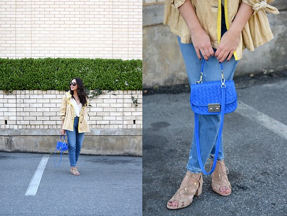 Melissa De Leon - Anthropologie Trench Coat, Anthropologie White Blouse, Ag Jeans High Rise Denim, Jennifer Nicole Collection Blue Crossbody, Michael Kors Lace Up Sandals - Yellow Accent Anorak
