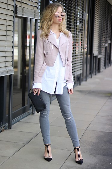 My Philocaly - Zara Heels, Zara Destroyed Denim, H&M Oversized Shirt, Ivyrevel Pink Biker Jacket, Pink Sunnies - Spring vibes