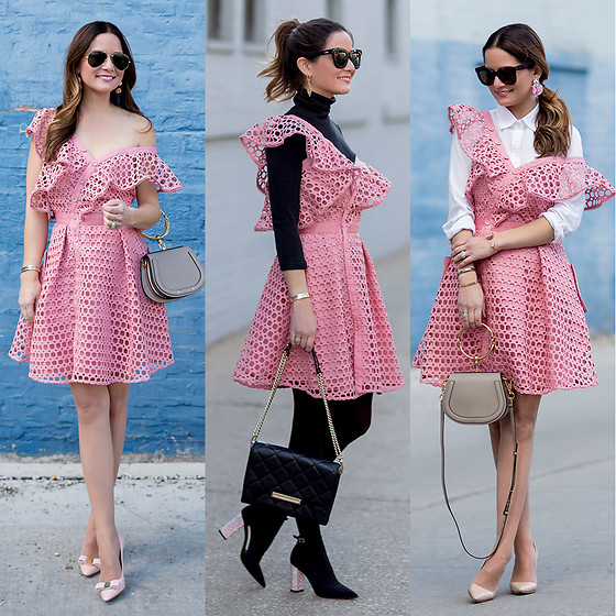 Jenn Lake - Self Portrait Pink Dress, Chloe Nile Bracelet Bag, Manolo Blahnik Bb Pump, Salvatore Ferragamo Emy Pumps, Kate Spade Emerson Place Lenia Bag, Kate Spade Pax Heels, Baublebar Pink Fringe Earrings, Celine Marta Sunglasses, Kate Spade Activity Bangle - Self Portrait Pink Dress