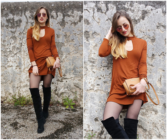 Linda Francis - Ray Ban Sunglasses, Forever21 Dress, Michael Kors Purse, Stuart Weitzman Over The Knee Boots - Warmer Days