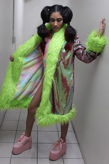 Paris Sinclair - Yru Sparkle Platforms, Funkadelic Furz Penny Lane Coat - The Acid Queen