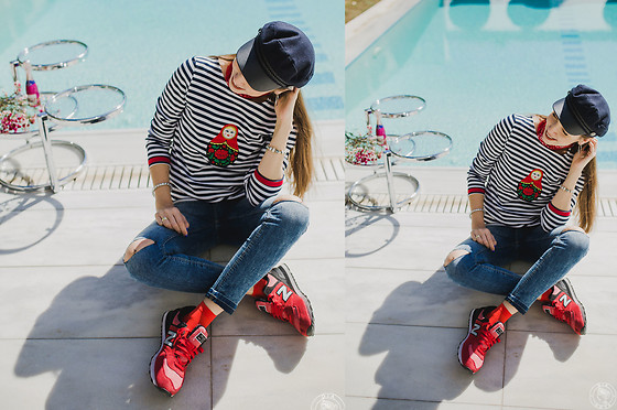 LIA IGAM - Krist & Tom Breton Top, New Balance Red Sneakers, Pink Woman Blue Ripped Jeans - Breton Top. Comeback Story