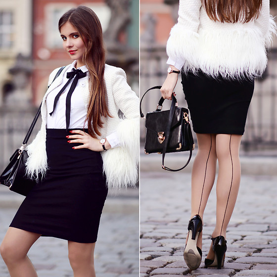 Ariadna M. - Shein White Cardigan, Black Pencil Skirt, Wolford Nude Seamed Tights - Vintage