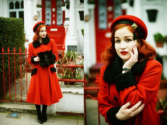 Roberta D. - Kate Spade Watch, Beyond Retro Vintage Hat, Mom´S Old Coat - Valentine
