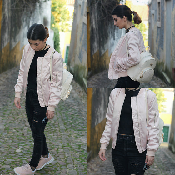 Adriana R. - Zaful Pastel Pink Bomber Jacket, Cndirect Black Sweater, Mango Black Ripped Jeans, Gamiss White Backpack, Ebay Flower Choker - Pastel Pink + All Black