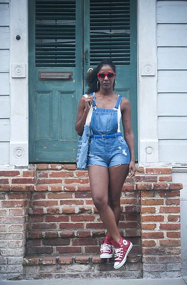 Samjah Iman -  - H&M Overalls + Red Leather Chucks