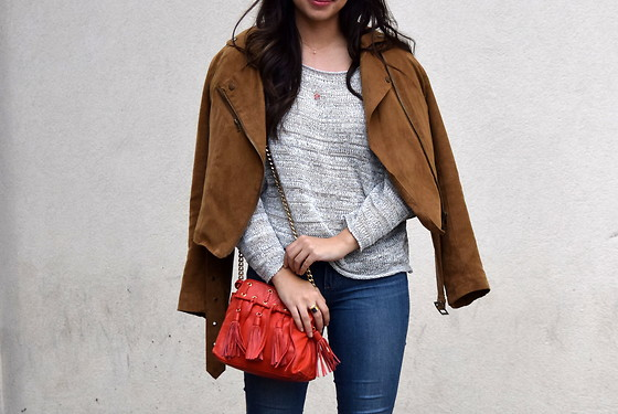 Melissa De Leon - Lou & Grey Gray Sweater, Forever 21 Suede Moto Jacket - Speckled Sweater