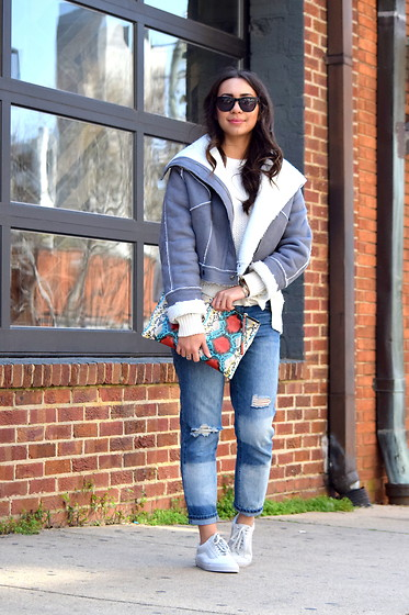 Melissa De Leon - Shein Shearling Aviator Jacket, Forever 21 Distressed Denim, Vans White - Shearling Aviator Jacket