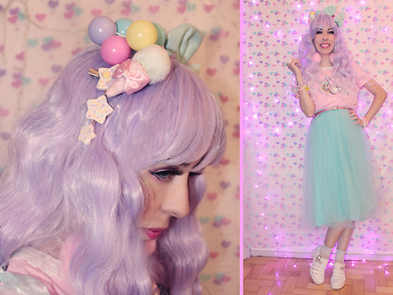 Luly Pastel Cubes - Forever 21 Tulle, Lockshop Wig, Follow The White Rabbit Ice Cream Clip, Petit Jolie Jelly - Ice Cream look