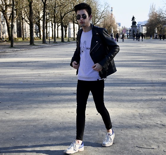 JeanbonBeurre - Heaven King Sweater, Zara Jean, Reebok Sneaker, Marty & Gus Leather Jacket, Spektre Sunglassed - Leather