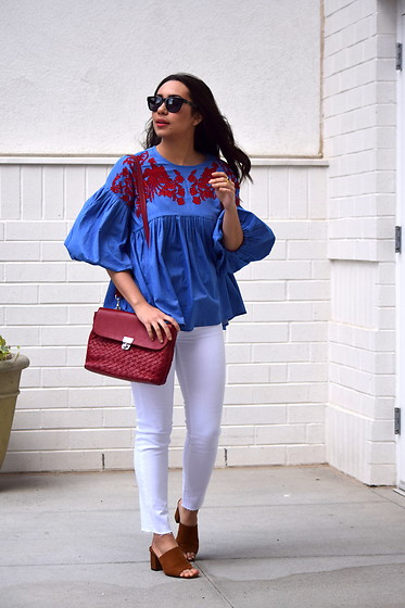 Melissa De Leon - Anthropologie Embroidered Blouse, Ag Jeans White Skinny, Jennifer Nicole Collection Red Leather Purse, Forever 21 Brown Mule - Embroidered Blouse