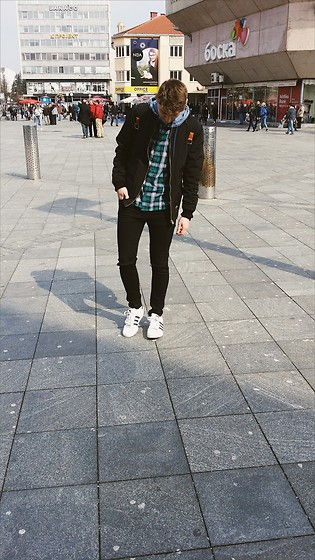 Anel Musanovic - Adid Sneakers, New Yorker Green Shirt, Terranova Black Jeans, Bomber Jacket - Outfit Of The Day