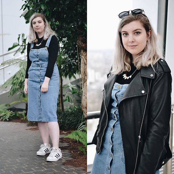 Elizabeth Claire - Boohoo Denim Pinafore, H&M Faux Marble Necklace, Boohoo Black Rollneck, Adidas Superstars, H&M Faux Leather Jacket - Four