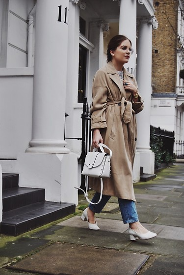 Miss G. Sánchez - Stradivarius White Bag, Zara White Shoes, Zara Bell Sleeve Trench Coat, Rayban Glasses, Topshop Vintage Mom Blue Jeans, La Redoute Sleeved Stripe T Shirt - Bell sleeve trench coat
