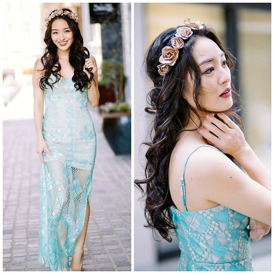 Kimberly Kong - Headbands Of Hope Floral Headband, Bcbg Lace Dress - Oozing Merm-asian Vibes in my New BCBG Dress
