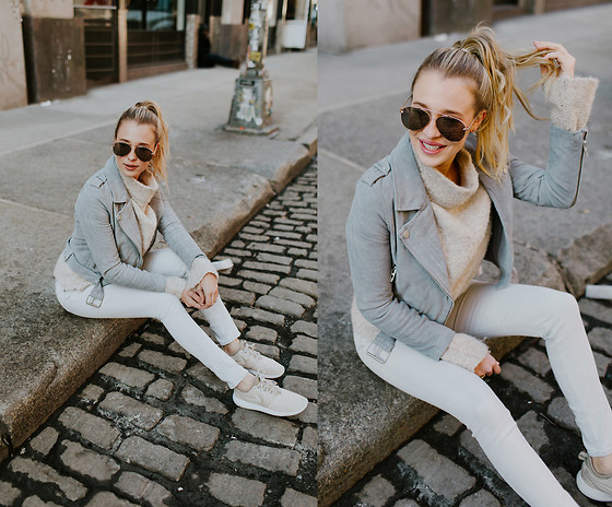 Payton Sartain - Blank Nyc Jacket, Nike Shoes, Free People Sweater - New York City Neutrals