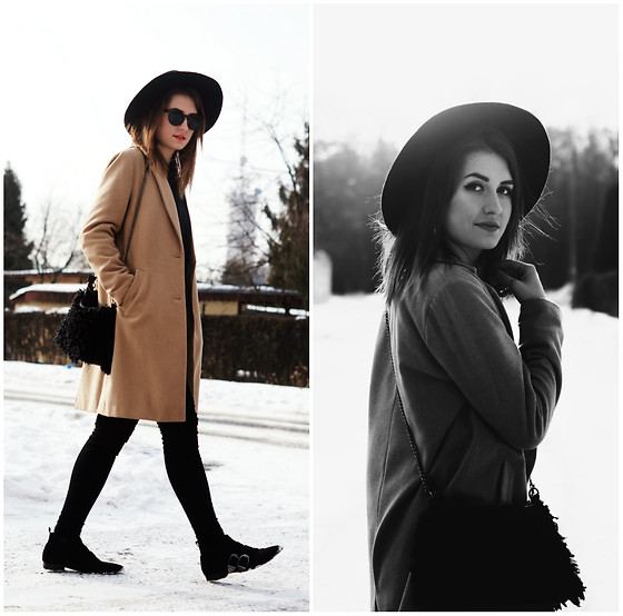 PASHIOON - Asos Black Shoes, H&M Black Pants, New Look Camel Coat, Stradivarius Black Hat - The winter is back.