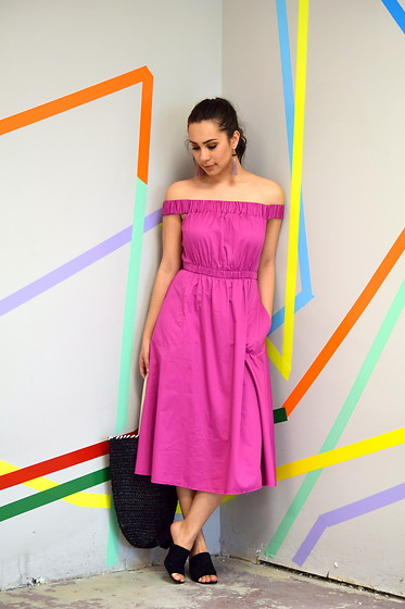 Melissa De Leon - Anthropologie Pink Dress, Zara Black Mule, Anthropologie Tassel Earring, Anthropologie Straw Tote Bag - Off-the-Shoulder Dress