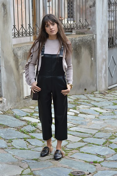 Jeanne -  - Leather Dungarees, Ruffle Sweater and Princetown Mules