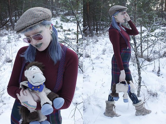 Lindwormmm - Hand Me Down Old Cap, Ray Ban Rose Lens Ray Bans, Thrifted Purple Suspenders, Turtleneck, Thrifted Horse Bag, Thrifted Tartan Skirt, Black Milk Clothing Leggings - Winter Walk with Brandon the Lil Horse