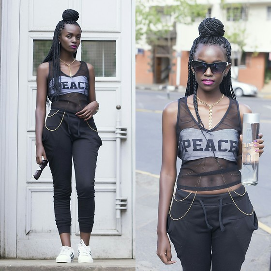 Wanjiku Esther - Adidas Superstars, Miu Sunglasses, Voss Bottle - Peace