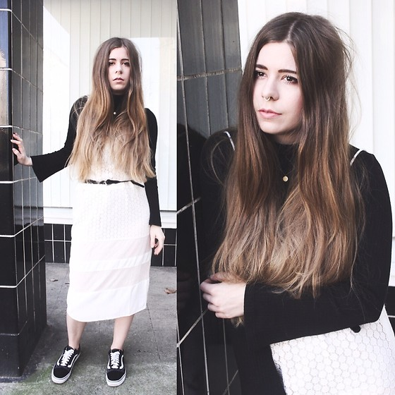 Elaine Hennings - Lostink Strap Dress, H&M Wide Sleeve Shirt, Vans Sneakers - Strap Dress & Turtleneck